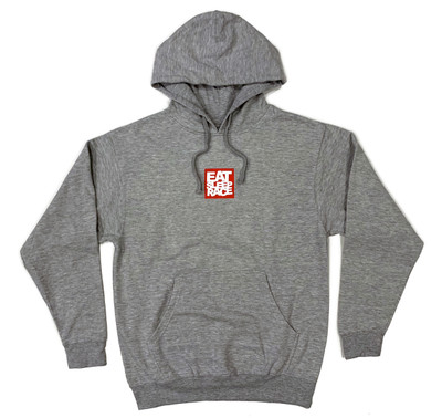 Pull Over Logo Square Hoodie   Grey/Red