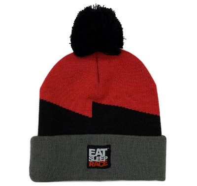 Bolt Pom Beanie | Red/Grey