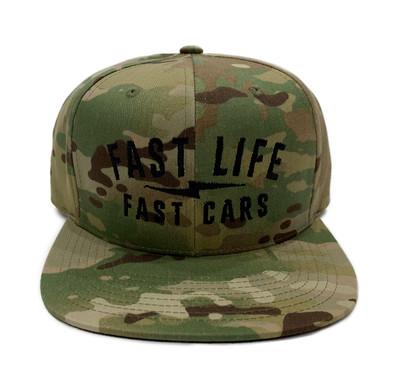 Fast Life Snapback Hat | Green Multicam