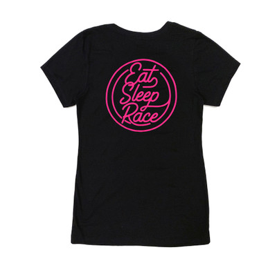 Ladies Neon V-Neck Shirt | Black/Pink