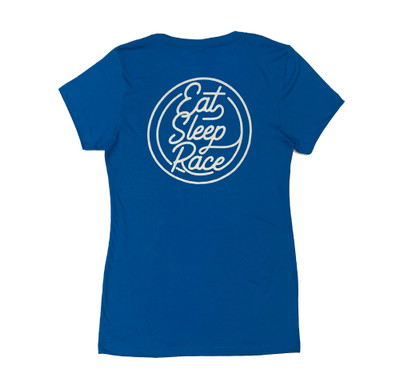 Ladies Neon V-Neck Shirt | Laser Blue/White