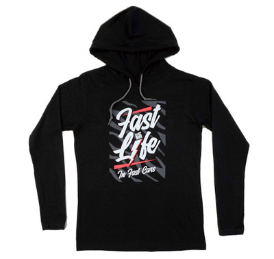 Ladies Fast Life Long Sleeve Hooded Shirt | Black