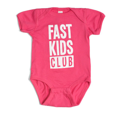 Infant One Piece Fast Kids Club | Magenta/White