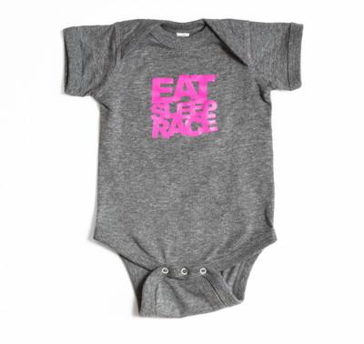 Infant One Piece Logo | Grey/Pink