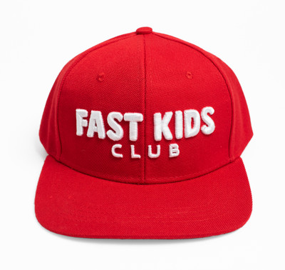 Kids Fast Kids Club Logo Snapback Hat | Red