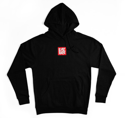 Pull Over Logo Square Hoodie | Black/Red
