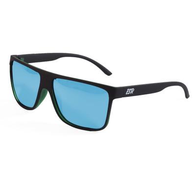 ESR Fastlife Flat Top Sunglasses | Matte Black/Blue (Polarized) | Hard Case