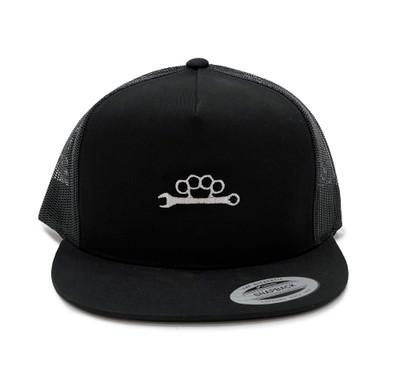 Knuckle Wrench Mesh Trucker Hat | Black/White
