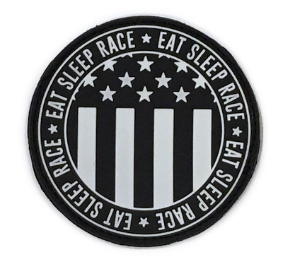 Rubber Velcro Circle Flag Patch | Black/White