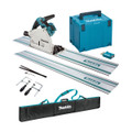 Makita DSP601ZJU3 Twin 18v Brushless Plunge Saw - Includes 2 Rails, Connectors, Clamps, Holder (Body Only + Case)