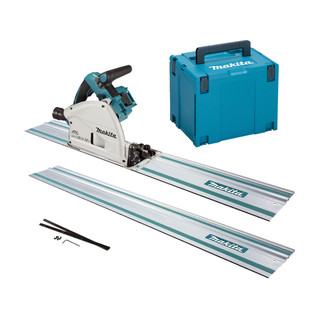 Makita DSP600ZJ2 Twin 18v Brushless 165mm Plunge Saw - Includes 2 Rails, Connectors (Body Only + Case)