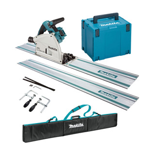 Makita DSP600ZJ3 Twin 18v Brushless 165mm Plunge Saw - Includes 2 Rails, Connectors, Clamps, Holder (Body Only + Case)