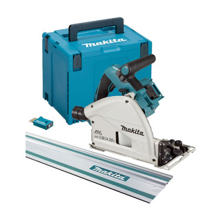 Makita DSP601ZJU1 Twin 18v Brushless Plunge Saw - Includes 1 Rail (Body Only + Case)