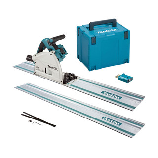 Makita DSP601ZJU2 Twin 18v Brushless Plunge Saw - Includes 2 Rails, Connectors (Body Only + Case)