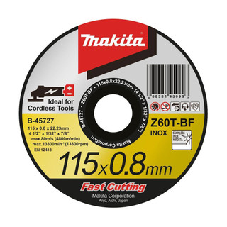 Makita B-45727 0.8mm Thin Slitting Disc - Z60T (115mm)
