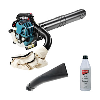 Makita BHX2501 4-Stroke Petrol Leaf Blower, Vacuum Kit & Oil