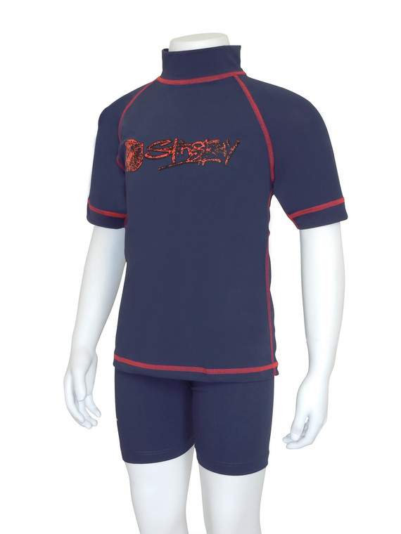 Navy/Red Flatlock Stitch
