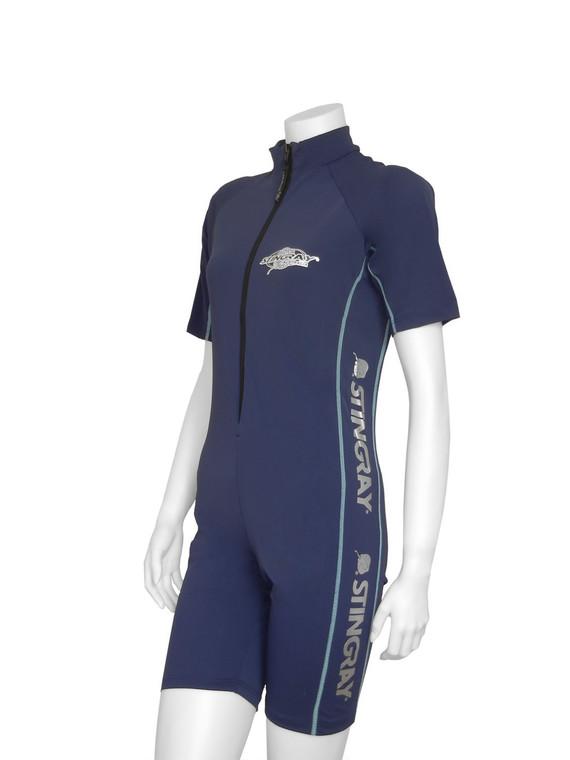 Navy/Aqua Flatlock Stitch