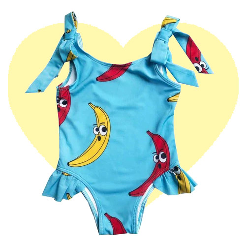 Bow Swim Suit - Banana-Blue