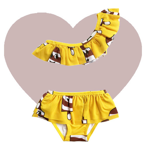 Ruffle Bikini - Ice Cream-Yellow