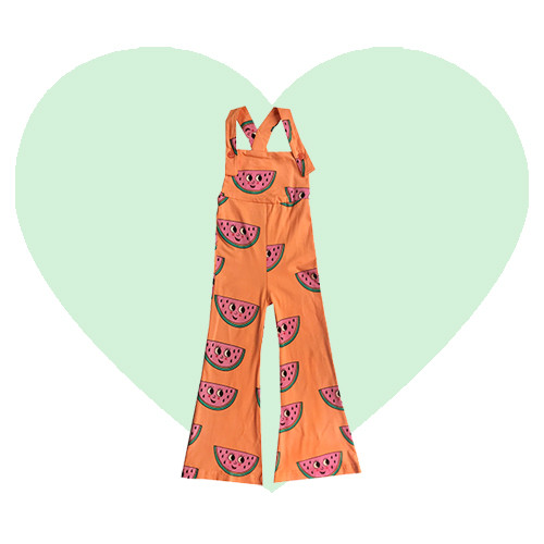 Bell Bottom Jumpsuit - Watermelon-Orange