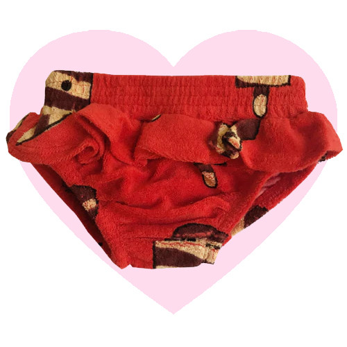 Terry Ruffle Bloomers - Ice Cream-Red