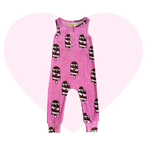 Terry Long Leg Romper - Ice Cream-Pink