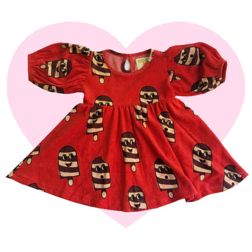 Terry Puff Sleeve Dress - Ice Cream-Red