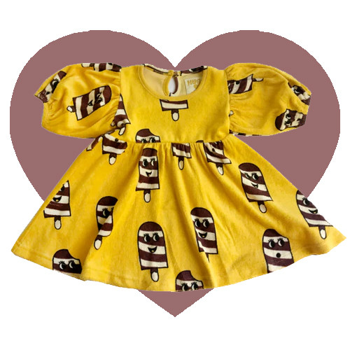 Terry Puff Sleeve Dress - Ice Cream-Yellow