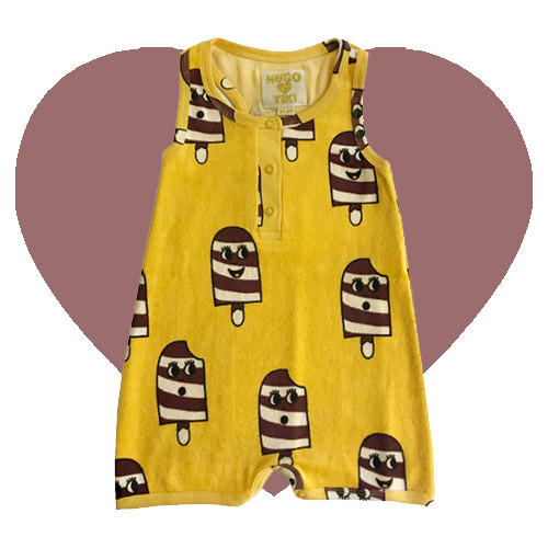 Terry Short Leg Romper - Ice Cream-Yellow