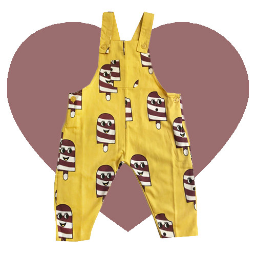 Woven Overalls - Ice Cream-Yellow