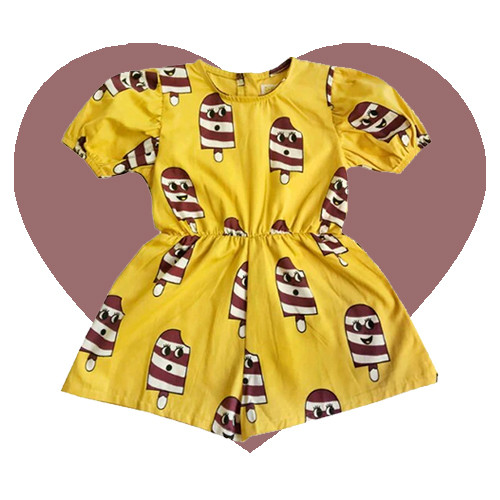 Woven Puff Sleeve Playsuit - Ice Cream-Yellow