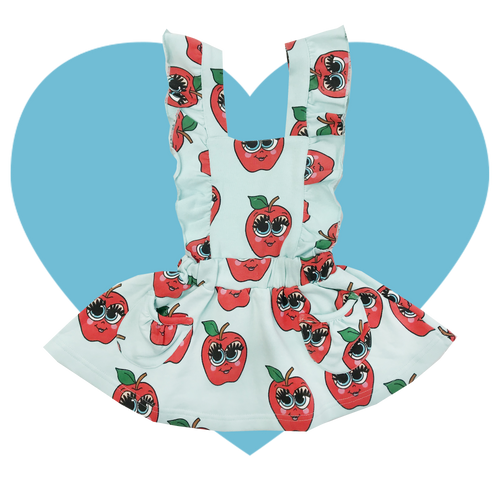 Hop Scotch Dress - Apples-Blue