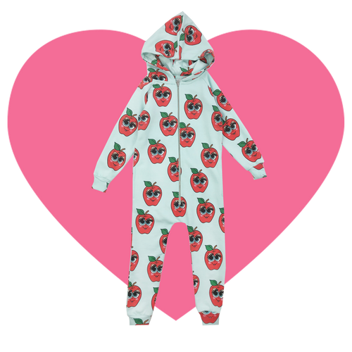 Hooded Jumpsuit - Apples-Blue