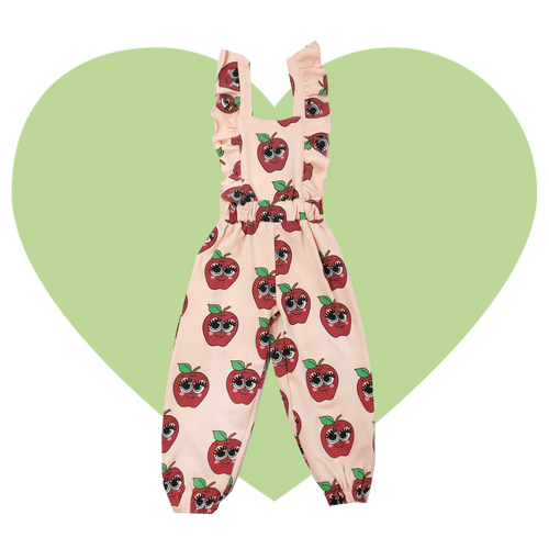 Ruffle Jumpsuit - Apples-Pink