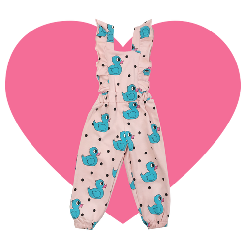 Ruffle Jumpsuit - Rubber Ducky-Pink
