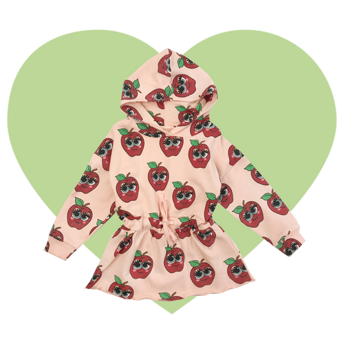 Hoodie Sweater Dress - Apples-Pink
