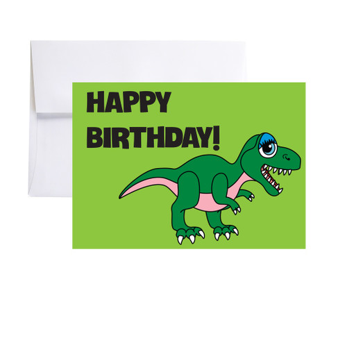 GREEN DINO - Happy Birthday Card