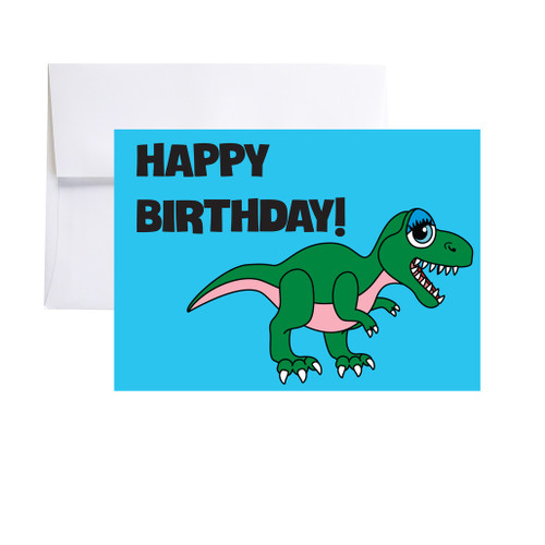 BLUE DINO - Happy Birthday Card