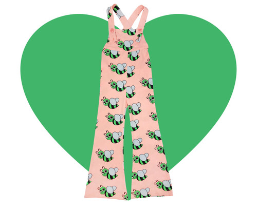 Bell Bottom Overalls - Bees-Peach