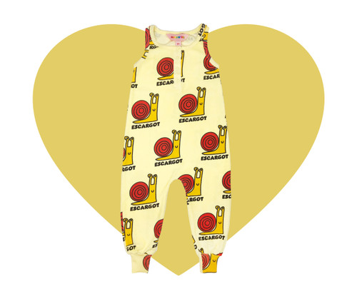 Terry Long Leg Romper - Snails-Yellow