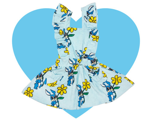 Terry Hop Scotch Dress - Bunnies-Blue