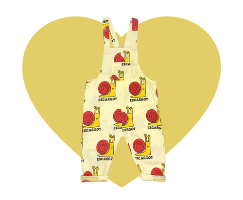 Woven Long Overalls - Snails-Yellow