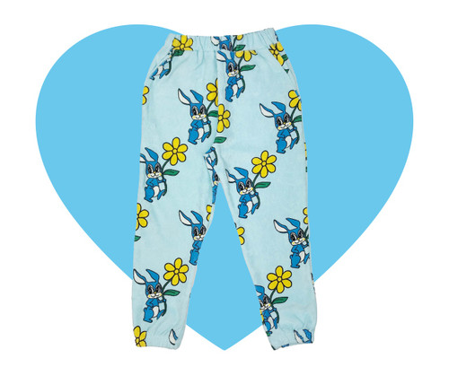 Terry 80's Sweatpants - Bunnies-Blue