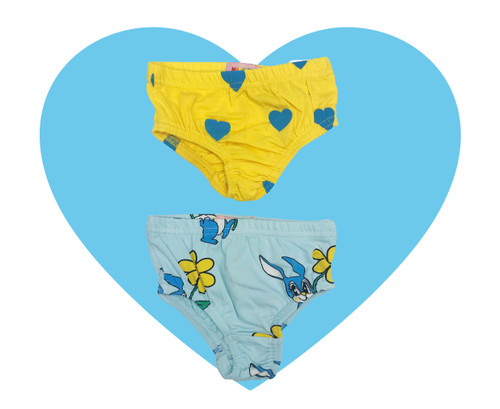 Undies - Hearts-Yellow / Bunnies-Blue