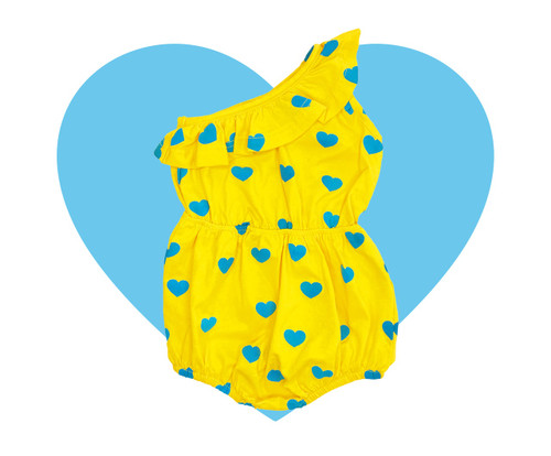 One Shoulder Romper -  Yellow Blue Hearts