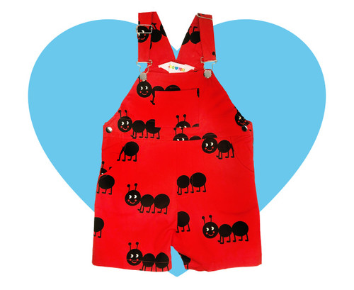 Woven Short Overalls - Ants-Red