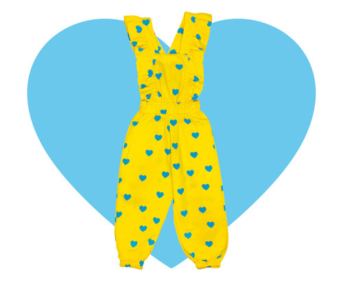 Woven Ruffle Jumpsuit - Yellow Blue Hearts