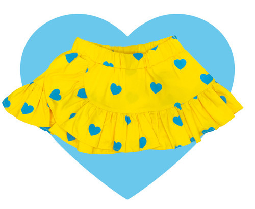 Woven Ruffle Skirt - Yellow Blue Hearts