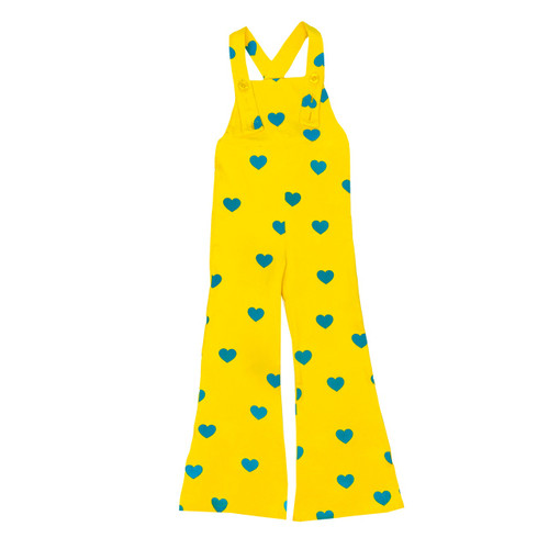 Bell Bottom Overalls - Yellow Blue Hearts